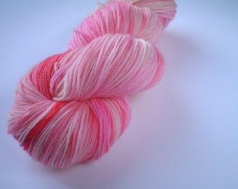 Hand dyed yarn, sock weight Merino, 493 yards, Rose Quartz
