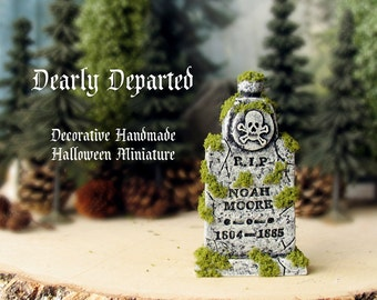 Dearly Departed - Halloween Miniature Tombstone Decor - RIP Noah Moore - Handcrafted and Hand-Painted Decorative Gravestone -All Hallows Eve