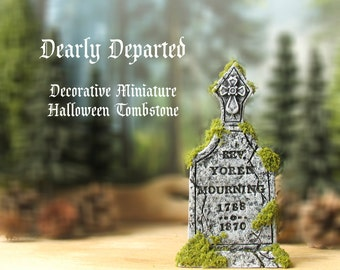 Dearly Departed - Halloween Miniature Tombstone Decor - Rev. Yoren Mourning - Handcrafted and Hand-Painted Mini Gravestones -All Hallows Eve