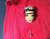 Frida Kahlo Pin - Frida Kahlo Jewelry - Frida Kahlo Art - Frida Kahlo Stick Pin - Frida Kahlo Wearable Art - Frida Pin, Pink & Blue Flowers