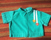 50s/60s Autumnal Turquoise Corduroy Blouse w/ Button Down Back, Kid's Size 2T