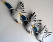 Felted Flying Ducks - Retro Wall Art - set of 3