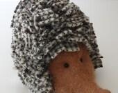 Doorstop Bookend Hedgehog - FELTED Hedgehog with RAG RUG prickles - small