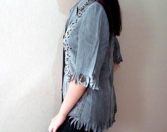 Fringe Denim jacket  Fringe Jacket Denim Shirt Embelished Shirt Half sleeve Summer jacket