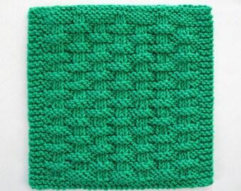 Cotton Dishcloth, Knit Dishcloth, Basketweave Dishcloth, Emerald Green Kitchen Decor, Jade Green Kitchen Decor