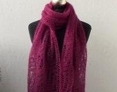 Dunkel-Rose-Hand-gestrickte Lace-Tuch mit Frost-Blumen-Muster