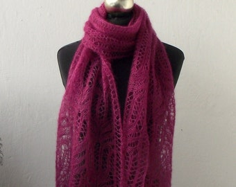 Dark Rose hand knitted lace scarf with Frost Flowers pattern, SPRING SALE 15% OFF
