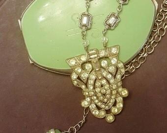 Art Deco Dress Clip Vintage Rhinestone Dress Clip Assemblage Necklace Repurposed Jewelry
