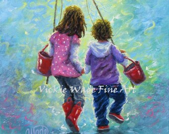 Fishing With Sister Original Oil Painting 12X12, two sisters, two girls, little girls going fishing, wall art original, Vickie Wade Art