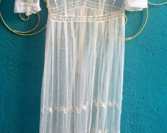 Incredible Antique Vintage Edwardian Victorian Lace Embroidered Wedding Dress Gown Netting Small