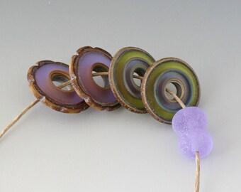 Rustic Ruffle Discs - (4) Handmade Lampwork Beads - Green, Lavender