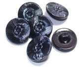 Black Vintage Glass Buttons Gunmetal Silver Blue Lustre Set 6 Sewing Embellishment Buttons 18mm