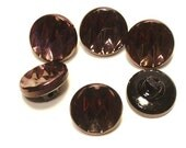 Copper Lustre Black Glass Vintage Buttons 12mm Matching Set 6 Sewing Buttons with shanks