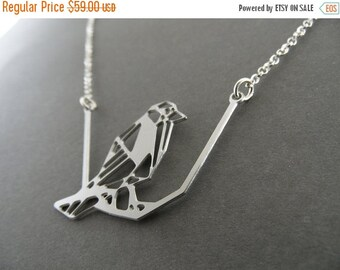 SALE up to 40% OFF silver bird necklace, bird on branch, animal jewelry, bird jewelry, silver necklace