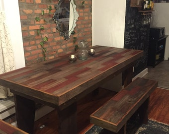 FREE SHIPPING Harvest Table , Rustic Table, Barn Wood Table, Barn Wood  Bench , Part 39