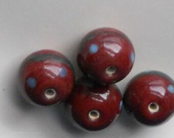 N1155SM Vintage Glass Beads Destash Flowers Primitive Brown Blue Green 15mm Southwest