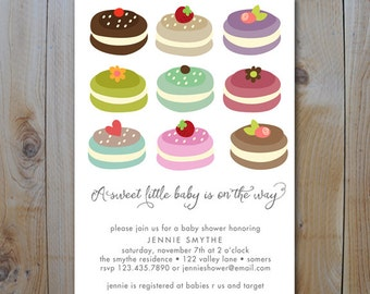 Printable Baby Shower Invitation / Sweet Little Baby with Macaroons / Gender neutral shower / PRINTABLE INVITATION /  #10512