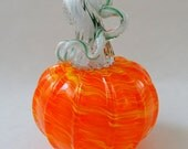 Hand Blown Glass Pumpkin Orange and Yellow Halloween Pumpkin Holiday Decor