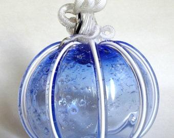 Hand Blown Glass Pumpkin Ice Blue and White Pumpkin Autumn Decor Halloween Pumpkin
