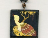 mounted art print necklace- High in the Branches