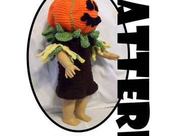 Crochet Pattern: Scarecrow / Pumpkin Head Costume for American Girl and similar 18 inch dolls