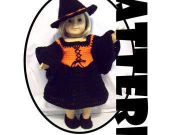 Crochet Pattern: Witch Costume for American Girl and similar 18 inch dolls