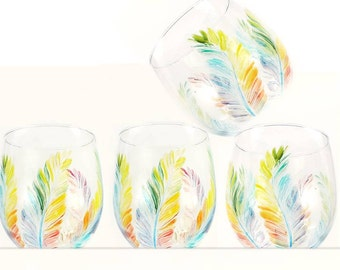 Rainbow Stemless Wine Glasses - Hand-Painted Colorful Multi-colored Feathers Set of 4 - Fun Funky Wine Glass Set Summer Wedding Gift Ideas