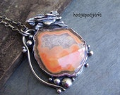 RESERVED for C -Moctezuma Agate Nodule and Sterling Silver Artisan Pendant Necklace - BALANCE