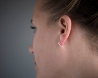 TINY TRIANGLE HOOPS - sterling silver - gold - rose gold - modern hoop - small everyday earrings