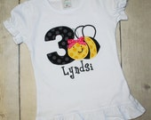 Girly Bee birthday shirt, bumble bee, First Second Third Birthday Shirt- Boys or Girls Colors Avail- Free Personalization