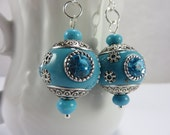 SALE Indonesian Bali Bead Earrings Crystal Turquoise Stones Silver Bohemian Free Shipping