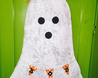Halloween Ghost with BOO Banner Burlap Fall Decor