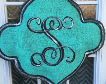Aqua Blue Quatrefoil with monogram Painted Burlap door hanger