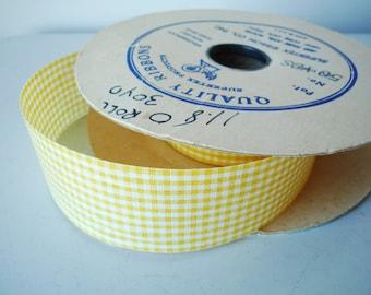 Vintage Yellow Gingham Ribbon on Spool, vintage ribbon on spool, SALE