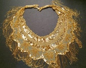 Vintage HUGE Amazing Gold Bead and  Sequin Appliqué with Fringe