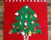 Felt Red Retro Christmas Tree Advent Calendar