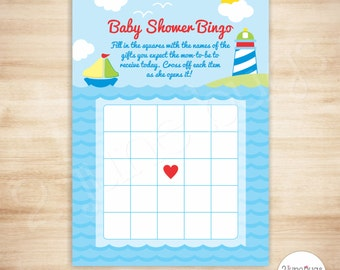 Sailboat Baby Shower Bingo Cards - Sailboat Baby Shower Game - Summer, Nautical, Beach Baby Shower - PRINTABLE - INSTANT DOWNLOAD