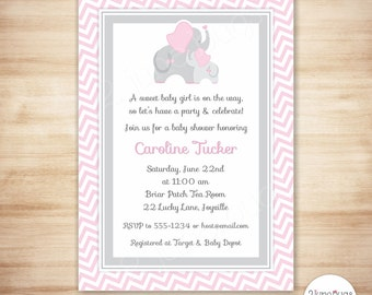 Pink Elephant Baby Shower Invitation Girl, Elephant Baby Shower, Pink Gray  Chevron Elephant Shower
