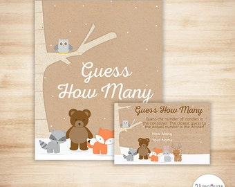 Winter Woodland Baby Shower Game - Woodland Candy Guessing Game - Guess How Many Candies Baby Shower Game - Winter Woodland Animals, Snow