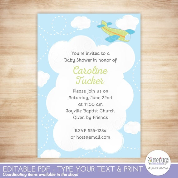 Editable airplane baby shower invitation template green airplane il570xn filmwisefo
