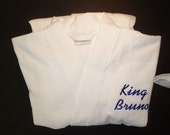 Personalized Robe All Cotton Monogrammed Embroidered Robe Unisex Robe, Womens Robe Mens Robe