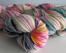 Mad Tea Party  - Hand painted yarn - hand dyed superwash merino dk wool / 100g wool / DK yarn / hand dyed / knitters gift / handdyed / alice