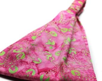 Festival Headband Pink Yoga Hair Band Hippie Head Wrap Batik Headwrap Gypsy Head Scarf Womens Headscarves (#4154) S M L