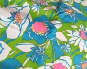 Vintage 60's/70's Mod High Fashion Floral Print Cotton Blue/Green/Pink 3Yds x 45""