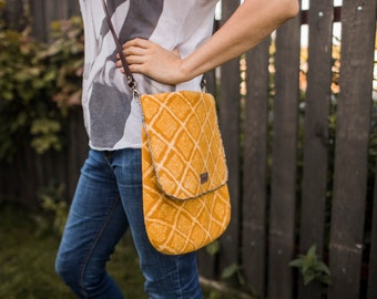 felted pineapple messenger bag, saffron crossbody women schoulder purse with mustard yellow merino wool, genuine leather handle, embroidered