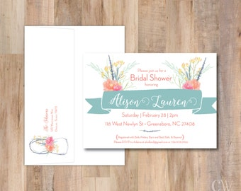 Rustic Wildflowers Watercolor Shower Invitation - Set of 20 (with return address on back envelope flap)