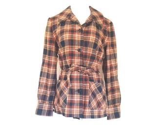 Vintage Pendleton, Wool Plaid Shirt, Jacket, Belted L XL  NEw