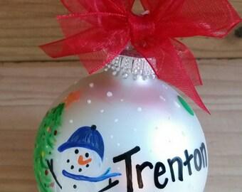 Custom Snowman Name Christmas Ornament