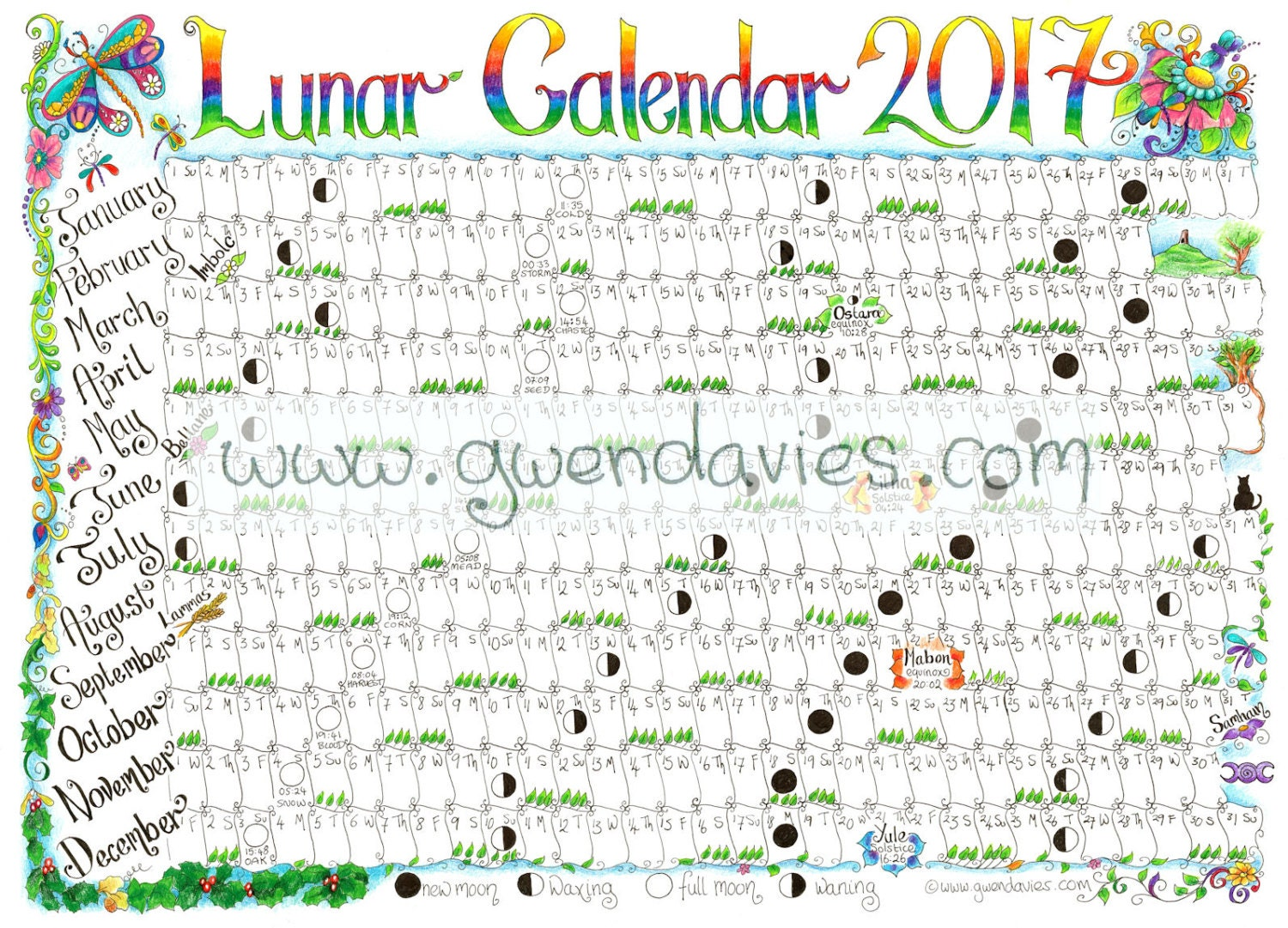 Downloadable Lunar Moon Calendar 2017 A4 Downloadable Pagan