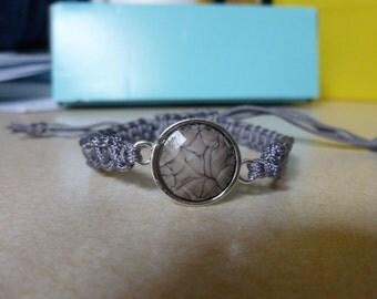 Macrame bracelet grey nylon cord with grey spacer